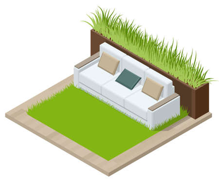 Isometric Green Wall in Office. Comfortable Sofas and Green Plants. Rest Area at the Front Desk of the Modern Office.