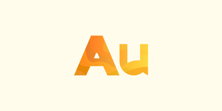 Aurum Gold Au modern chemical element, great design for any purposes. Science research concept. Vector illustration with chemical element for concept design. Education concept. Çizim