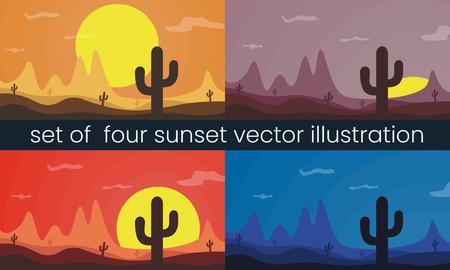 Un insieme di quattro illustrazione di vettore del paesaggio del deserto. Montagna, sole e cactus. Vettoriali