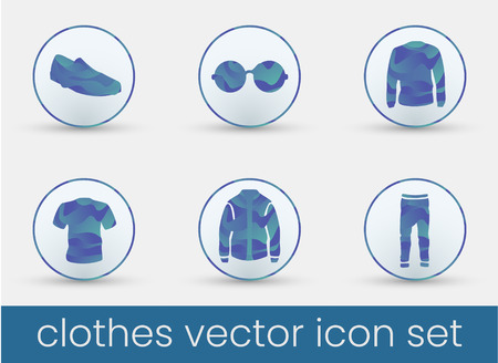 Clothes icon set deep blue, great design for any purposes. Fashion icons set.