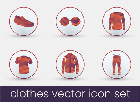 Clothes icon set bordeaux, great design for any purposes. Fashion icons set.