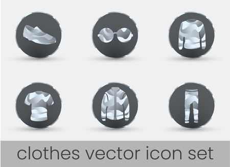 Clothes icon set dark, great design for any purposes. Fashion icons set.