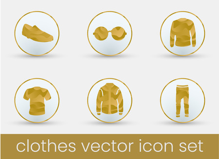 Clothes icon set gold, great design for any purposes. Fashion icons set.