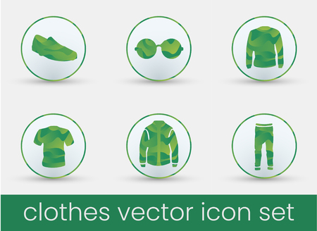 Clothes icon set green, great design for any purposes. Fashion icons set. 矢量图像