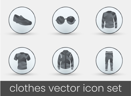 Clothes icon set grey, great design for any purposes. Fashion icons set.