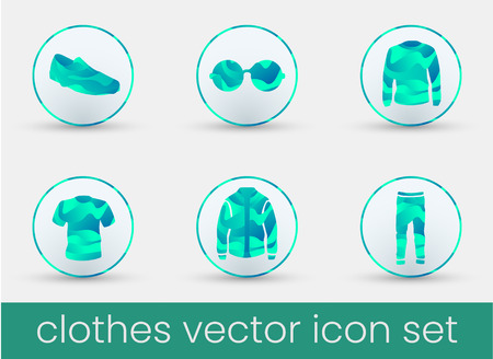 Clothes icon set malachite, great design for any purposes. Fashion icons set.