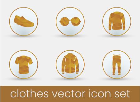 Clothes icon set orange, great design for any purposes. Fashion icons set. Çizim
