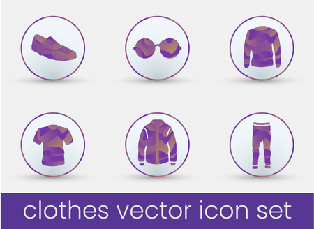 Clothes icon set purple, great design for any purposes. Fashion icons set.