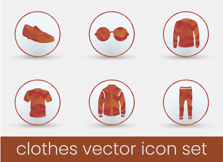 Clothes icon set red, great design for any purposes. Fashion icons set.