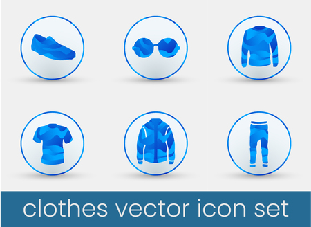 Clothes icon set blue, great design for any purposes. Fashion icons set.