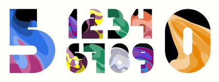 Colorful wavy number set. 123 elements for design. Vector illustration. Çizim