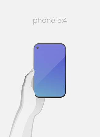 Hand holding smartphone with bezel-less design and in-screen selfie camera. All-screen smartphone with an 5:4 aspect ratio on white backgound. Modern concept for web design. EPS10 Stok Fotoğraf - 125353201