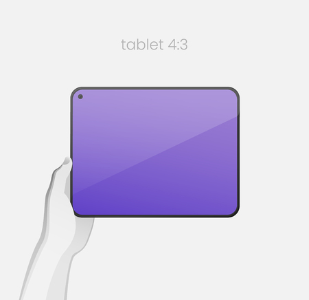 Hand holding tablet with bezel-less design and in-screen selfie camera. All-screen tablet with an 4:3 aspect ratio on white backgound. Modern concept for web design. EPS10