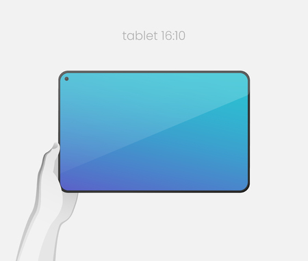 Hand holding tablet with bezel-less design and in-screen selfie camera. All-screen tablet with an 16:10 aspect ratio on white backgound. Modern concept for web design. EPS10