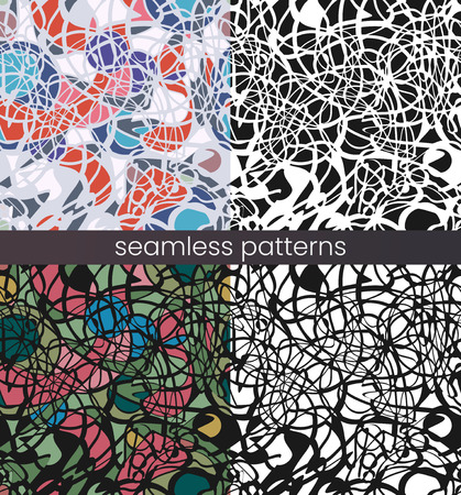 Vector seamless mosaic pattern set. Broken glass. Abstract mosaic pattern Çizim
