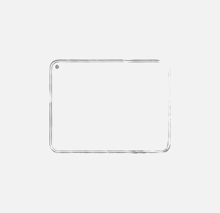 Grunge tablet outline, etching style tablet shape outline with outline brush strokes. EPS8