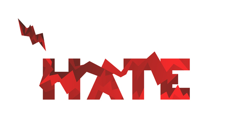 The word HATE vector sign on white background. Design element concept for typography