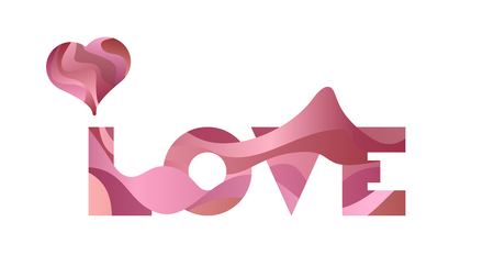 Wavy vector sign, the word LOVE with heart on white background. Design element for Happy Valentines Day.