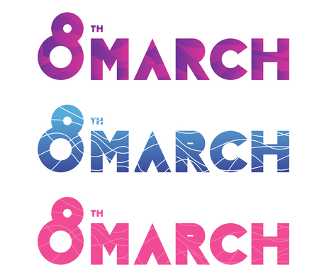8 March, womens day. Set of vector typography, text design. For banners, invitations, greeting cards gifts and other