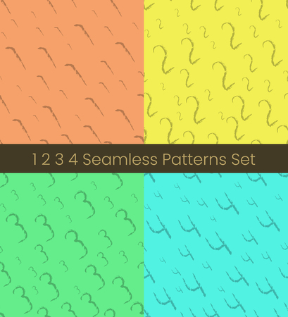 1 2 3 4 number seamless patterns set. Numbers colorful vector illustration. Vector EPS8