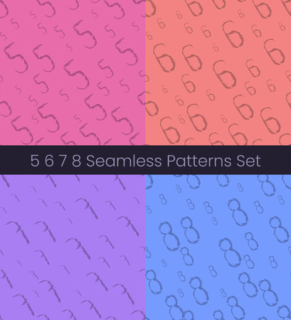 5 6 7 8 number seamless patterns set. Numbers colorful vector illustration. Vector EPS8 Çizim