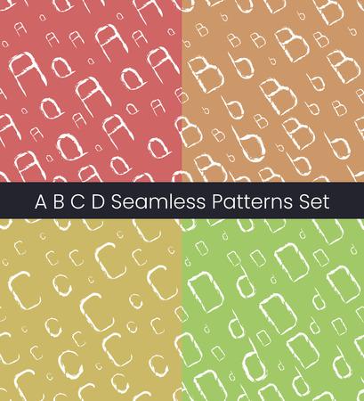 A B C D latin letter seamless patterns set. Alphabet colorful vector illustration. Vector EPS8 Stok Fotoğraf - 124852840