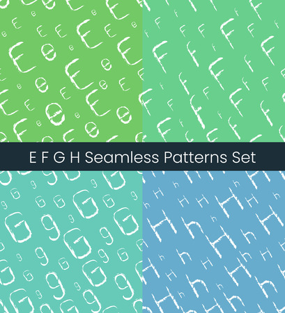 E F G H latin letter seamless patterns set. Alphabet colorful vector illustration. Vector EPS8