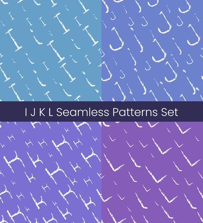 I J K L latin letter seamless patterns set. Alphabet colorful vector illustration. Vector EPS8 Stok Fotoğraf - 124852842