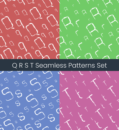 Q R S T latin letter seamless patterns set. Alphabet colorful vector illustration. Vector EPS8