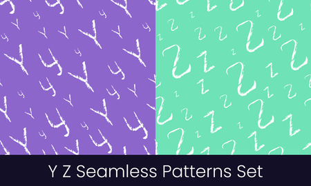 Y Z latin letter seamless patterns set. Alphabet colorful vector illustration. Vector EPS8