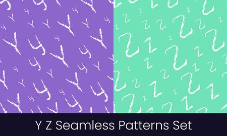 Y Z latin letter seamless patterns set. Alphabet colorful vector illustration. Vector EPS8 Stok Fotoğraf - 124852847