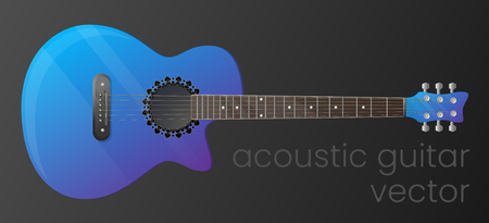 Realistic gradient acoustic guitar isolated on dark background. Vector illustration. The most detailed. Scalable and editable colour. EPS10