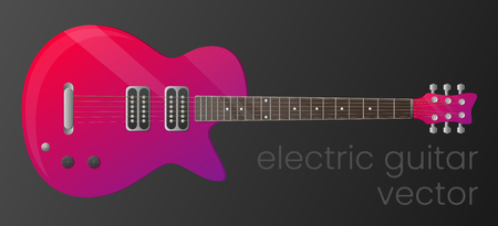 Realistic gradient electric guitar isolated on dark background. Vector illustration. The most detailed. Scalable and editable colour. EPS10 Çizim