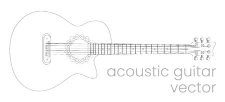 Acoustic guitar illustration. Music instrument. Vector line sketch  イラスト・ベクター素材