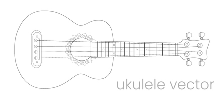 Ukulele guitar illustration. Music instrument. Vector line sketch Illustration