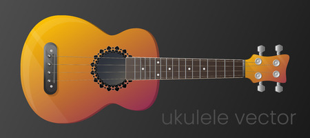 Realistic gradient ukulele guitar isolated on dark background. Vector illustration. The most detailed. Scalable and editable colour. EPS10 Çizim