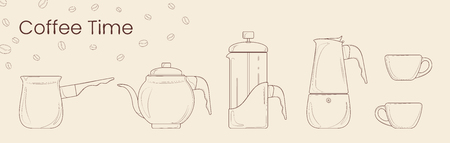 Set of line vector of coffee preparation. Cezve, coffee kettle, french press, moka pot and coffee cup for cafe. Isolated vector for coffee house, shops and bars. Çizim