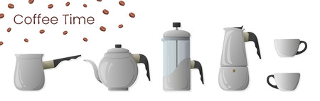 Set of realistic vector of coffee preparation. Cezve, coffee kettle, french press, moka pot and coffee cup for cafe Stok Fotoğraf - 122669131