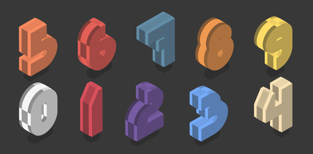 Set of ten isometric numbers from zero to nine. Vector 3d number plastic design.