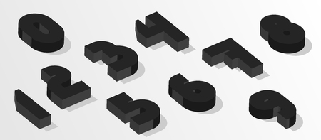 Black isometric numbers. 3d effect numbers. Vector numbers for any typography design. Stok Fotoğraf - 122669180