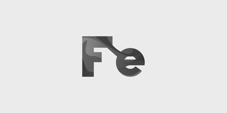Fe ferrum modern chemical element, great design for any purposes. Science research concept. Vector illustration with chemical element for concept design. Education concept. Çizim
