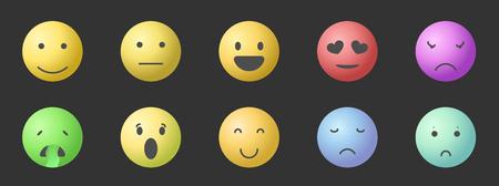 Vector set of Emoticons. Set of Emoji. Smile gradient style illustrations. EPS8 Stok Fotoğraf - 124354558