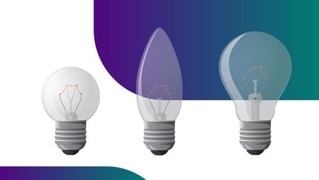 Vector incandescent light bulb set. Vector illustration for your design Çizim