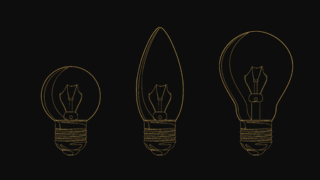 Vector line incandescent light bulb set. Vector illustration for your design