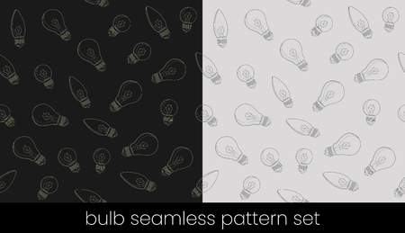 Incandescent light bulb seamless pattern set, great design for any purposes. Seamless vector background