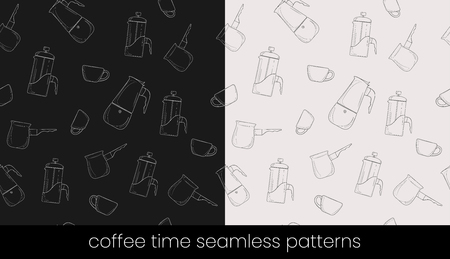 Coffee preparation seamless patterns, great design for any purposes. Seamless vector background