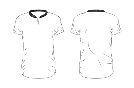 Line vector blank t-shirt template. Front and back. EPS8 Stok Fotoğraf - 124007426