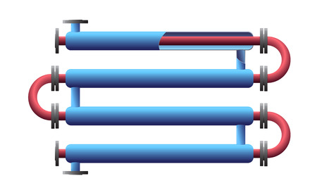 Cut Double Pipe Heat Exchanger. Apparatus for chemical processing. Pipe-in-pipe, tube in tube structure heat exchanger Illustration