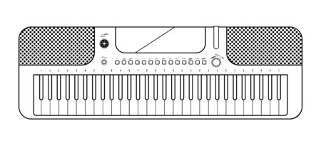 Line elecronic piano on white background. Keyboard piano musical instruments. Music synthesizer. Vector line sketch Çizim
