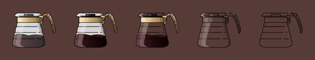 Coffee server with cap. Device for brewing coffee. For the menu, in the shop, bar. Black line on brown background